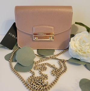 Furla Metropolis Shoulder/Crossbody gold chain mini genuine leather bag